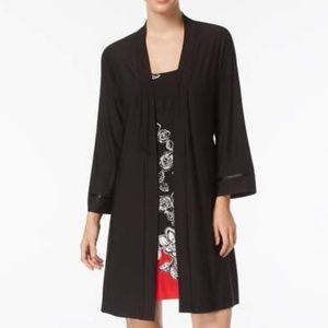 Linea Donatella Open-Front Solid Wrap SMALL Black